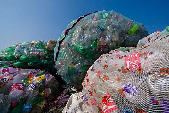 Big nets full of empty plastic bottles, collected in the