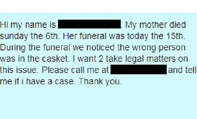 wrong body at funeral